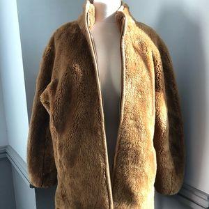 J Crew Zip-Up Teddy Coat in Warm Brandy
